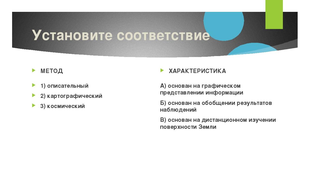 Установите соответствие МЕТОД 1) описательный 2) картографический 3) космичес...