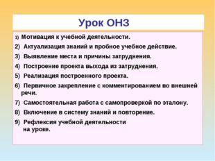 ТДМ Урок ОНЗ 1) Мотивация к учебной деятельности. 2) Актуализация знаний и пр