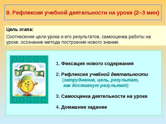 9. Рефлексия учебной деятельности на уроке (2–3 мин) Цель этапа: Соотнесение...