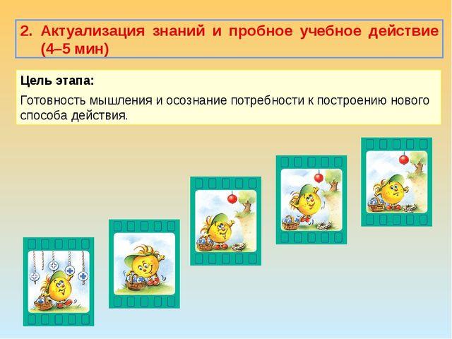 2. Актуализация знаний и пробное учебное действие (4–5 мин) Цель этапа: Готов...