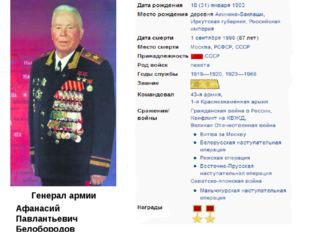 Афанасий Павлантьевич Белобородов Генерал армии