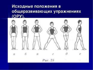 Исходные положения в общеразвивающих упражнениях (ОРУ).