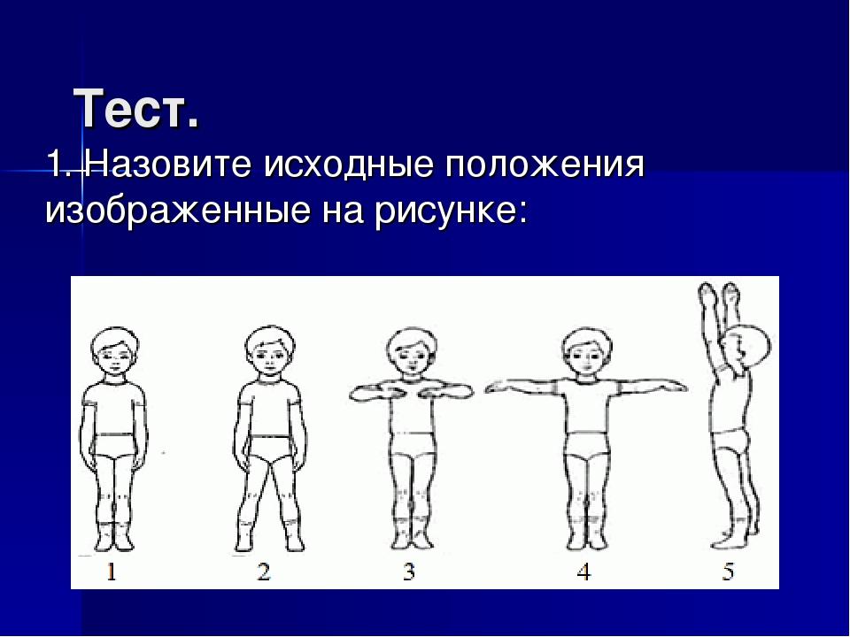 Тест. 1. Назовите исходные положения изображенные на рисунке: