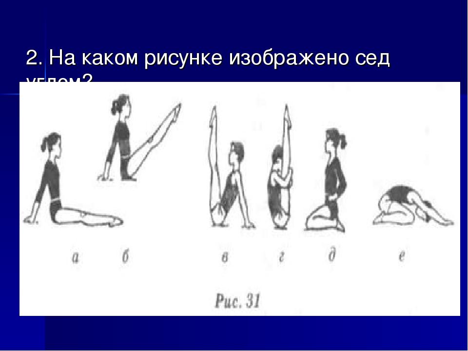 2. На каком рисунке изображено сед углом?
