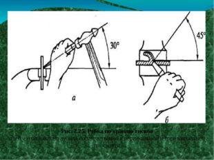 Рис. 2.25. Рубка по уровню тисков а и б - угол наклона зубила соответственно