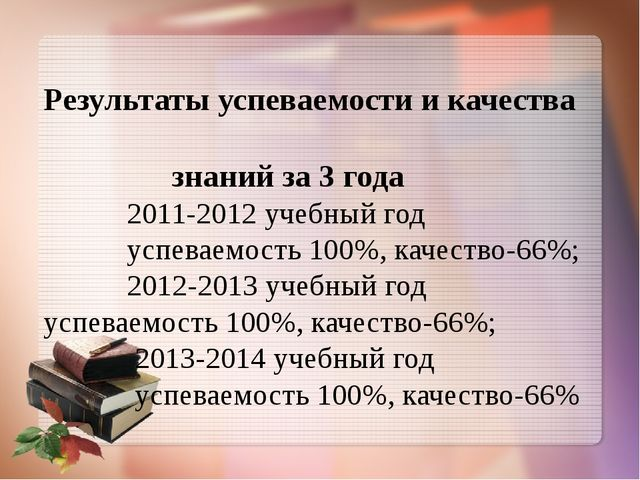 Результаты успеваемости и качества знаний за 3 года 2011-2012 учебный год усп...