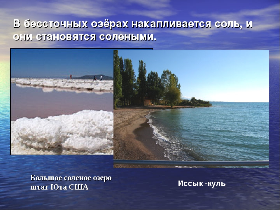 В бессточных озёрах накапливается соль, и они становятся солеными. Иссык -кул...