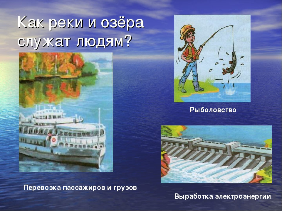 Как реки и озёра служат людям? Перевозка пассажиров и грузов Рыболовство Выра...