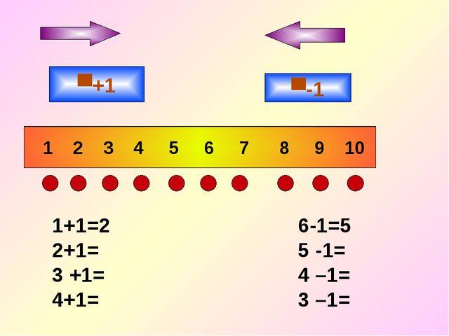 1 2 3 4 5 6 7 8 9 10 ▀+1 ▀-1 1+1=2 6-1=5 2+1= 5 -1= 3 +1= 4 –1= 4+1= 3 –1=