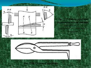 Рис. 2.57. Геометрические параметры лезвий ножниц: а - задний угол; β - угол