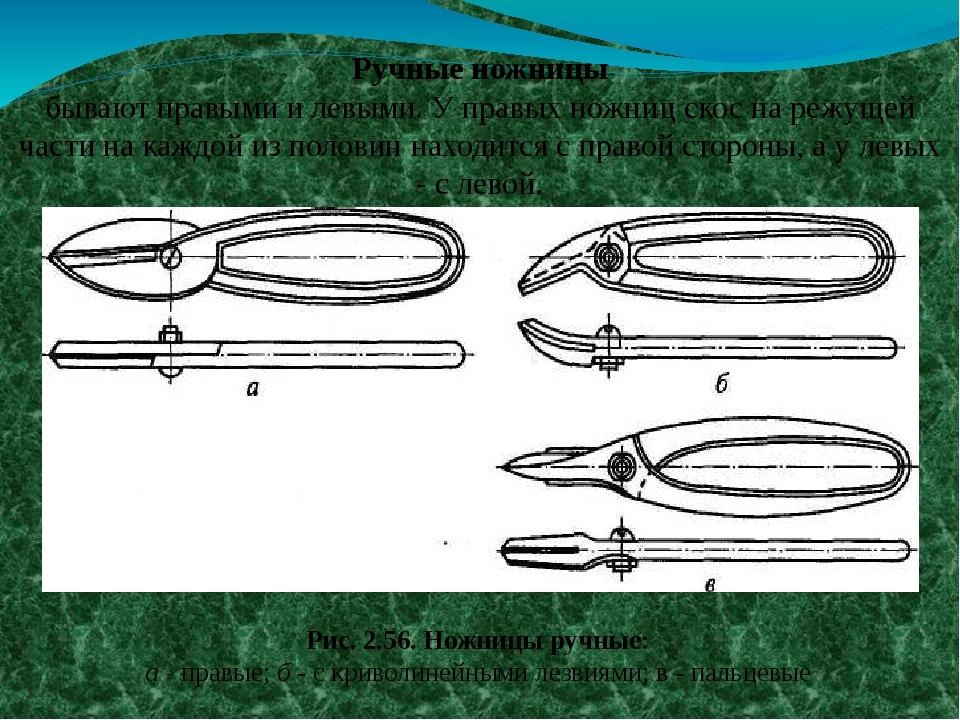 Рис. 2.56. Ножницы ручные: а - правые; б - с криволинейными лезвиями; в - пал...