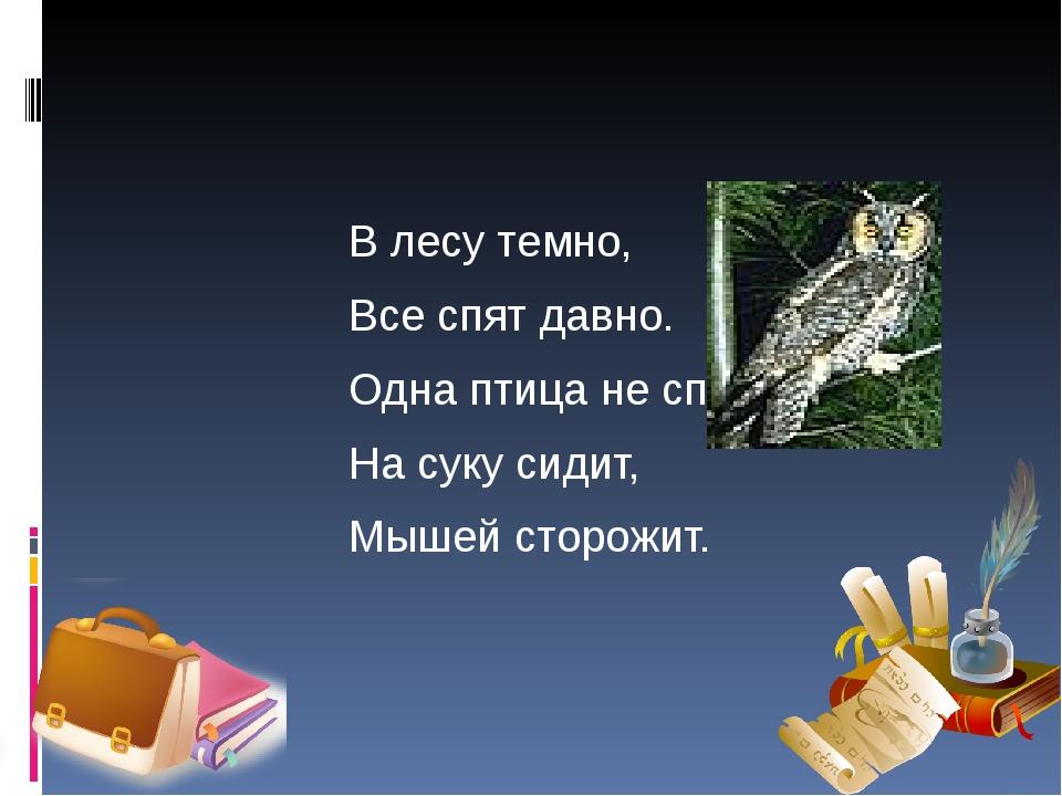 В лесу темно, Все спят давно. Одна птица не спит, На суку сидит, Мышей сторо...