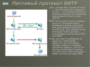 Почтовый протокол SMTP (англ. Simple Mail Transfer Protocol — простой протоко