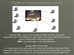 Первая электронная почта команда MAIL, встроенная в операционную систему, поз