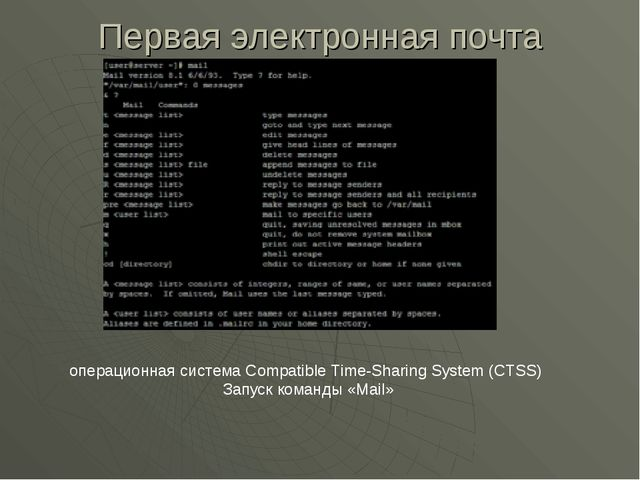 Первая электронная почта операционная система Compatible Time-Sharing System...