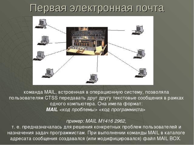 Первая электронная почта команда MAIL, встроенная в операционную систему, поз...