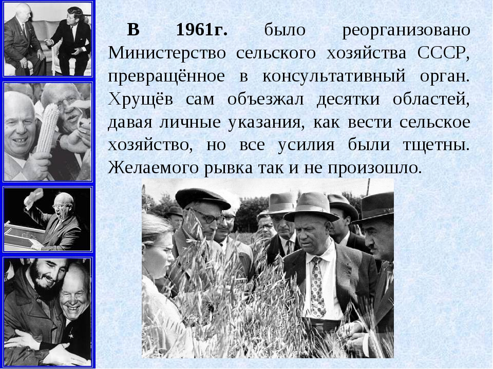В 1961г. было реорганизовано Министерство сельского хозяйства СССР, превращён...
