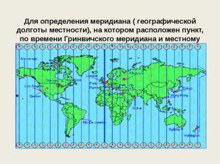 Для определения меридиана ( географической долготы местности), на котором ра