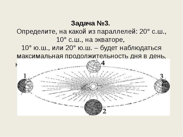 Задача №3. Определите, на какой из параллелей: 20° с.ш., 10° с.ш., на эквато...
