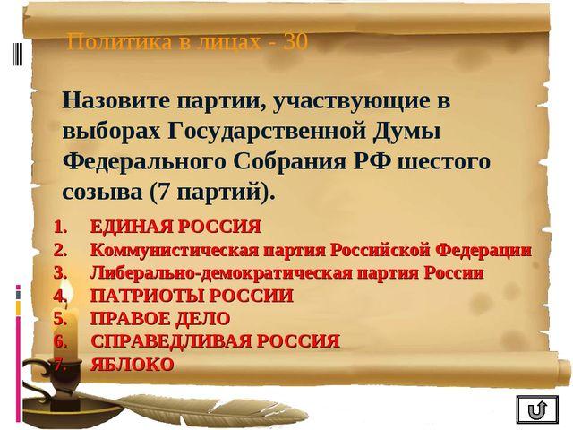 Политика в лицах - 30 Назовите партии, участвующие в выборах Государственной...