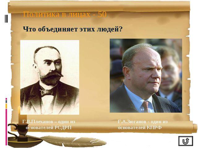 Политика в лицах - 50 Что объединяет этих людей? Г.В.Плеханов – один из основ...