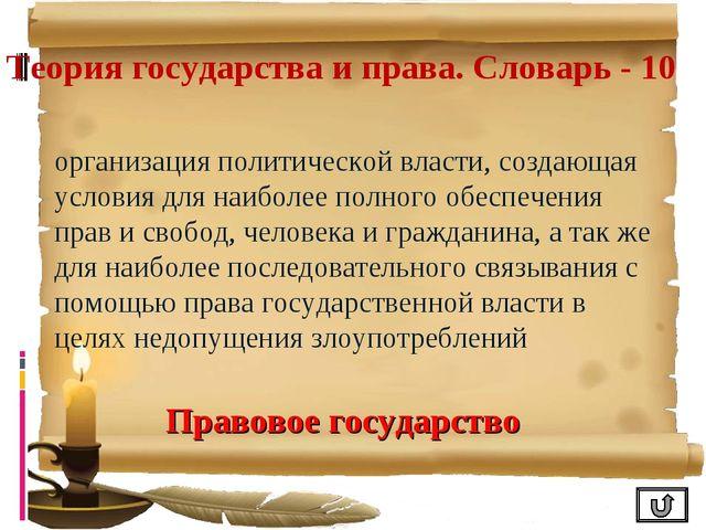 Теория государства и права. Словарь - 10 организация политической власти, соз...