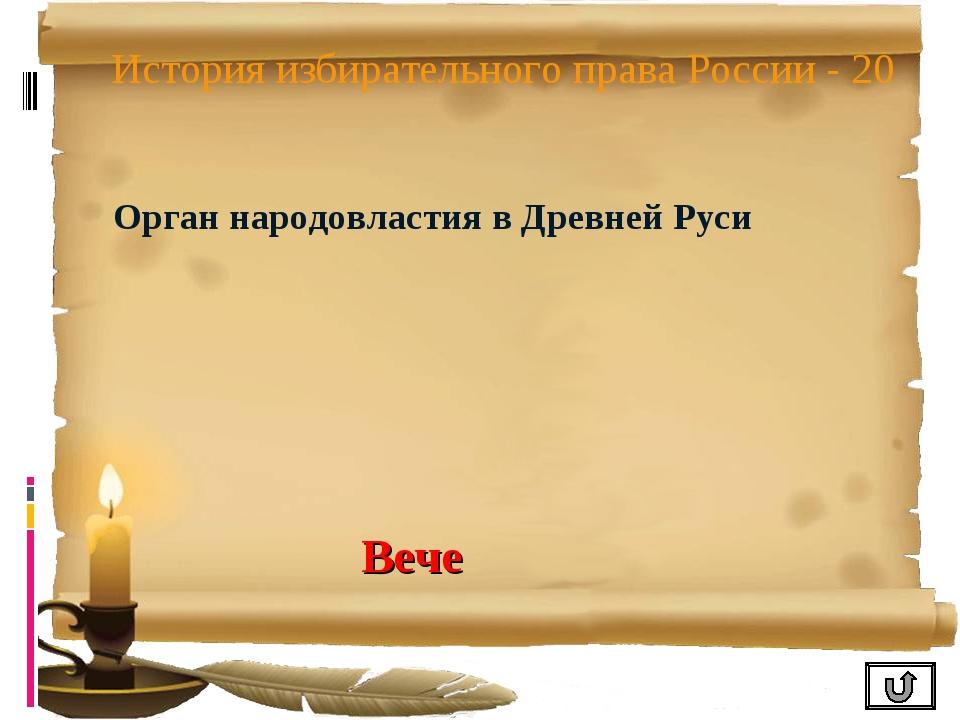 История избирательного права России - 20 Орган народовластия в Древней Руси В...