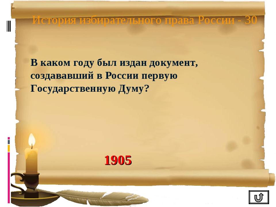 История избирательного права России - 30 В каком году был издан документ, соз...
