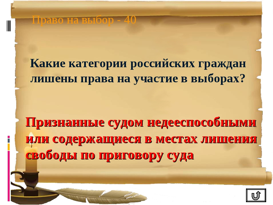 Право на выбор - 40 Какие категории российских граждан лишены права на участи...