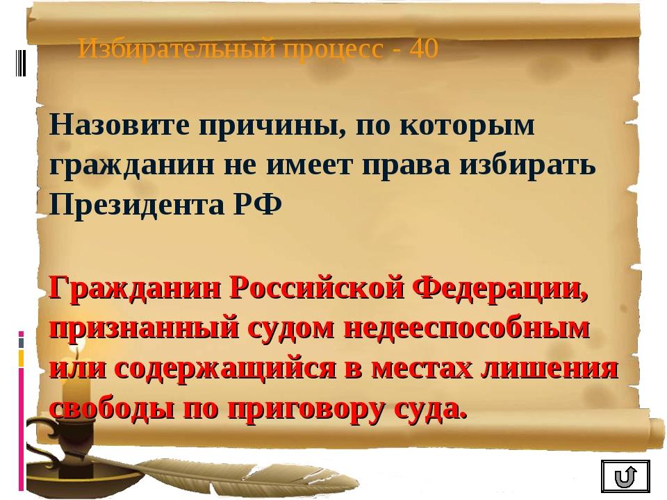 Избирательный процесс - 40 Назовите причины, по которым гражданин не имеет пр...
