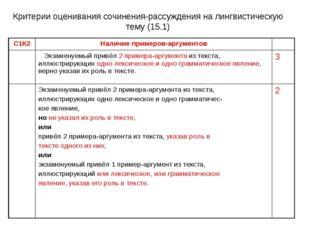 Критерии оценивания сочинения-рассуждения на лингвистическую тему (15.1) С1К2