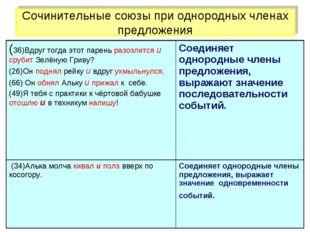 Сочинительные союзы при однородных членах предложения (36)Вдруг тогда этот па