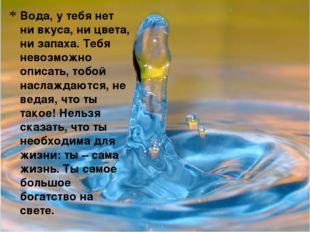 Вода, у тебя нет ни вкуса, ни цвета, ни запаха. Тебя невозможно описать, тобо