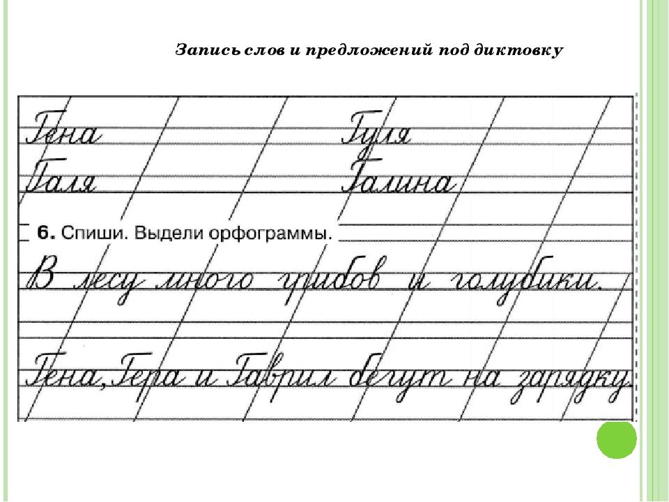 Запись слов и предложений под диктовку