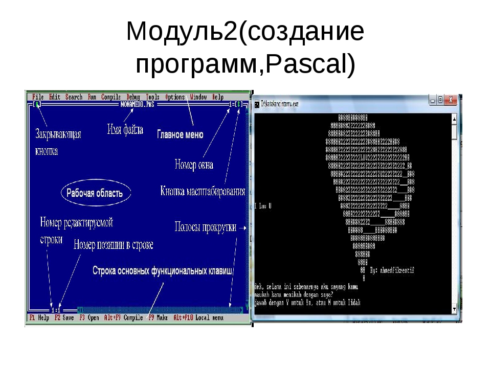 Модуль2(создание программ,Pascal)