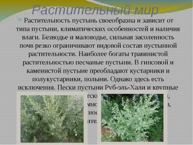 Растительный мир Растительность пустынь своеобразна и зависит от типа пустыни...