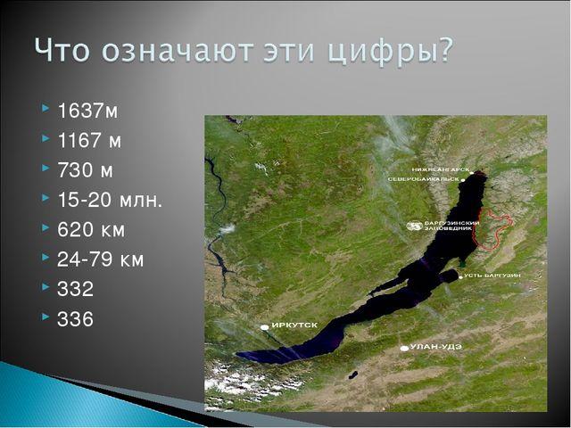 1637м 1167 м 730 м 15-20 млн. 620 км 24-79 км 332 336
