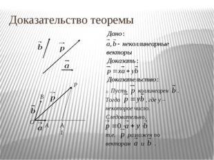 Доказательство теоремы O A A1 B P Пусть коллинеарен . Тогда , где y – некотор