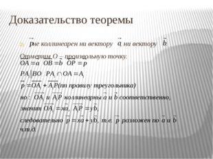 Доказательство теоремы не коллинеарен ни вектору , ни вектору . Отметим О – п