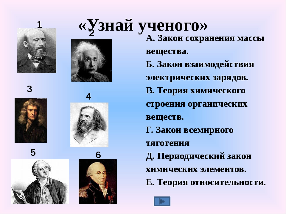«Узнай ученого» А. Закон сохранения массы вещества. Б. Закон взаимодействия э...