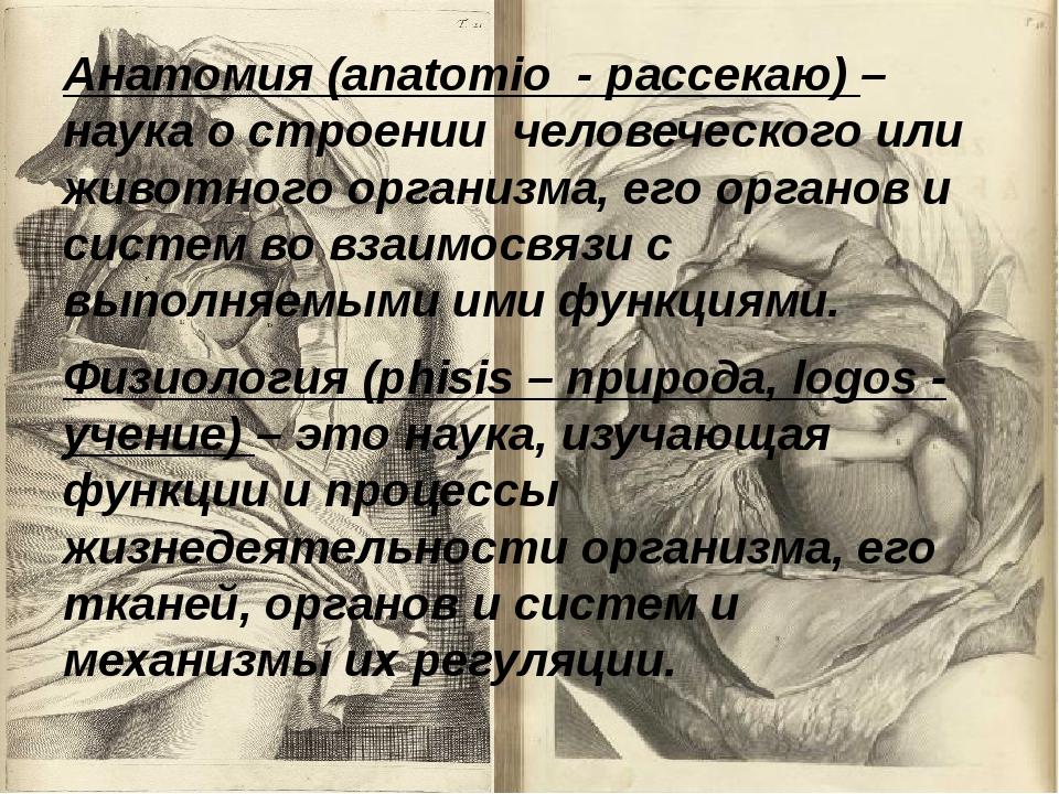 Анатомия (anatomio - рассекаю) – наука о строении человеческого или животного...