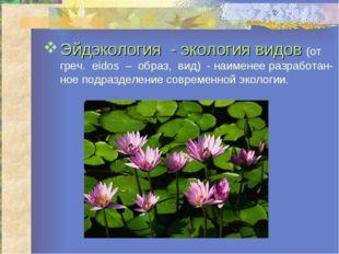 Эйдэкология - экология видов (от греч. eidos – образ, вид) - наименее разрабо