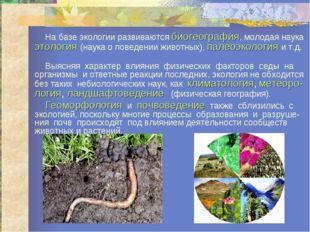 На базе экологии развиваются биогеография, молодая наука этология (наука о п