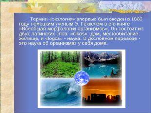 Термин «экология» впервые был введен в 1866 году немецким ученым Э. Геккелем