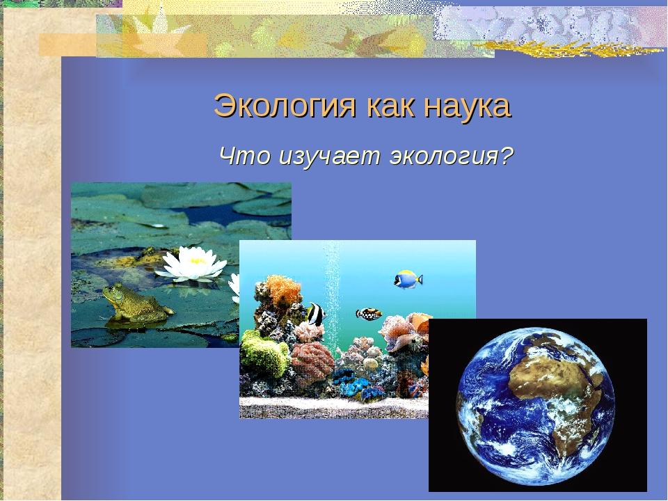 Экология как наука Что изучает экология?