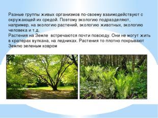 Разные группы живых организмов по-своему взаимодействуют с окружающей их сред