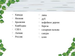 Канада Япония Бразилия Камбоджа США Латвия Россия липа дуб кофейное дерево б