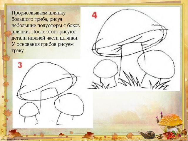 Прорисовываем шляпку большого гриба, рисуя небольшие полусферы с боков шляпки...
