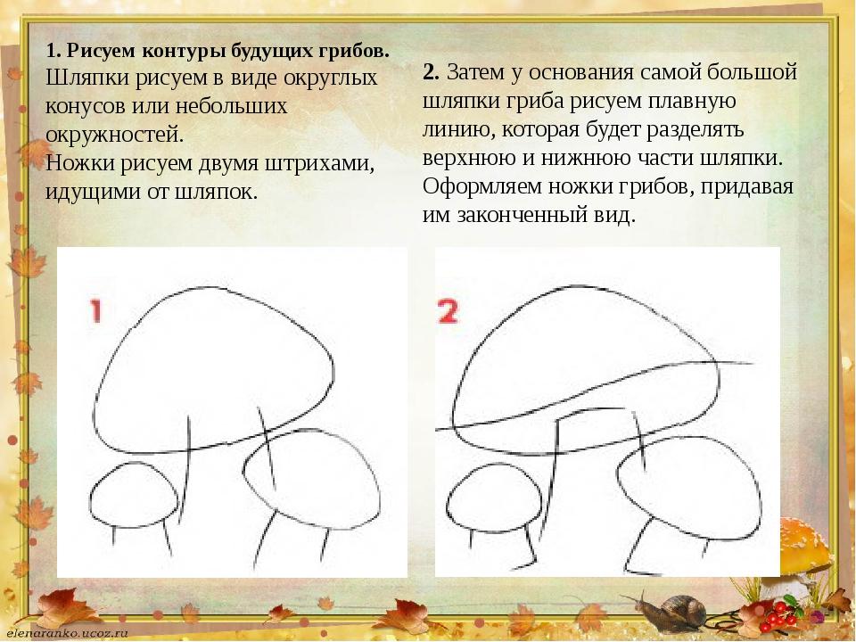 1. Рисуем контуры будущих грибов. Шляпки рисуем в виде округлых конусов или н...