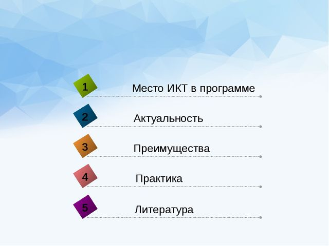 Практика 4 Место ИКТ в программе 1 Актуальность 2 Преимущества 3 Литература 5